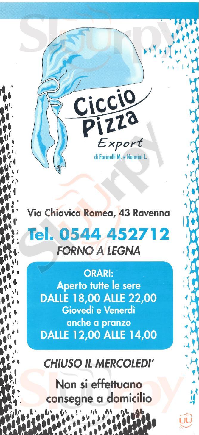 CICCIO PIZZA Ravenna menù 1 pagina