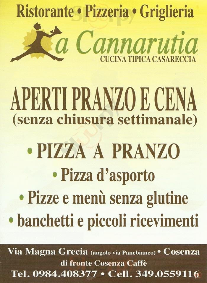 A CANNARUTIA Cosenza menù 1 pagina