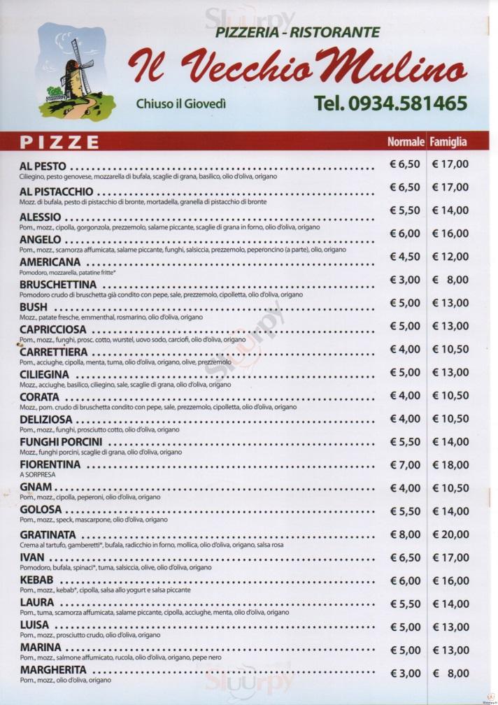 IL VECCHIO MULINO Caltanissetta menù 1 pagina