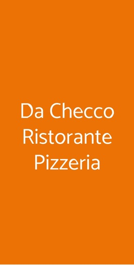 Menu Da Checco Ristorante Pizzeria