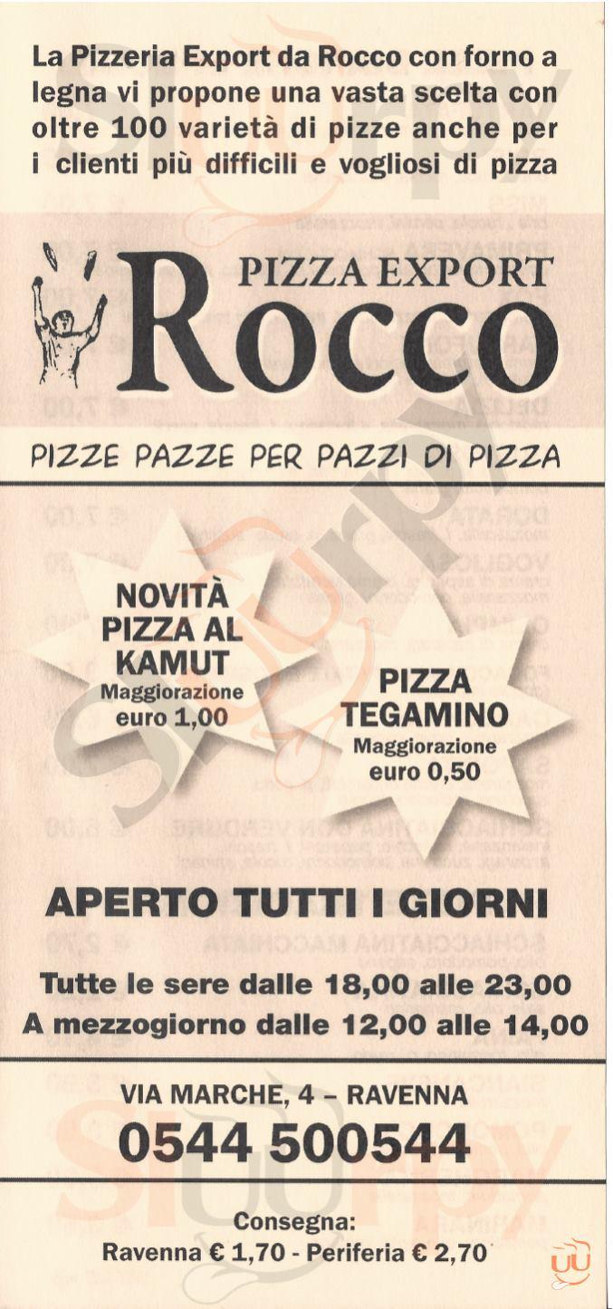 PIZZA EXPORT ROCCO Ravenna menù 1 pagina