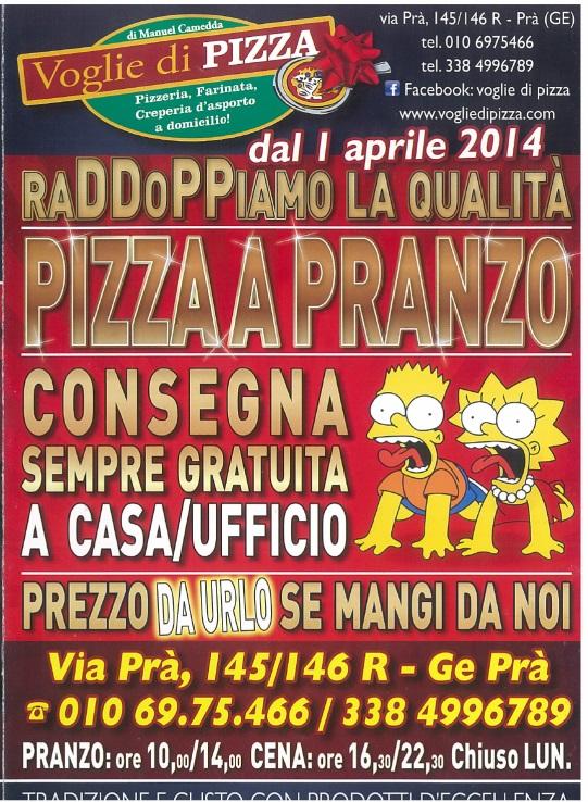 VOGLIE DI PIZZA Genova menù 1 pagina