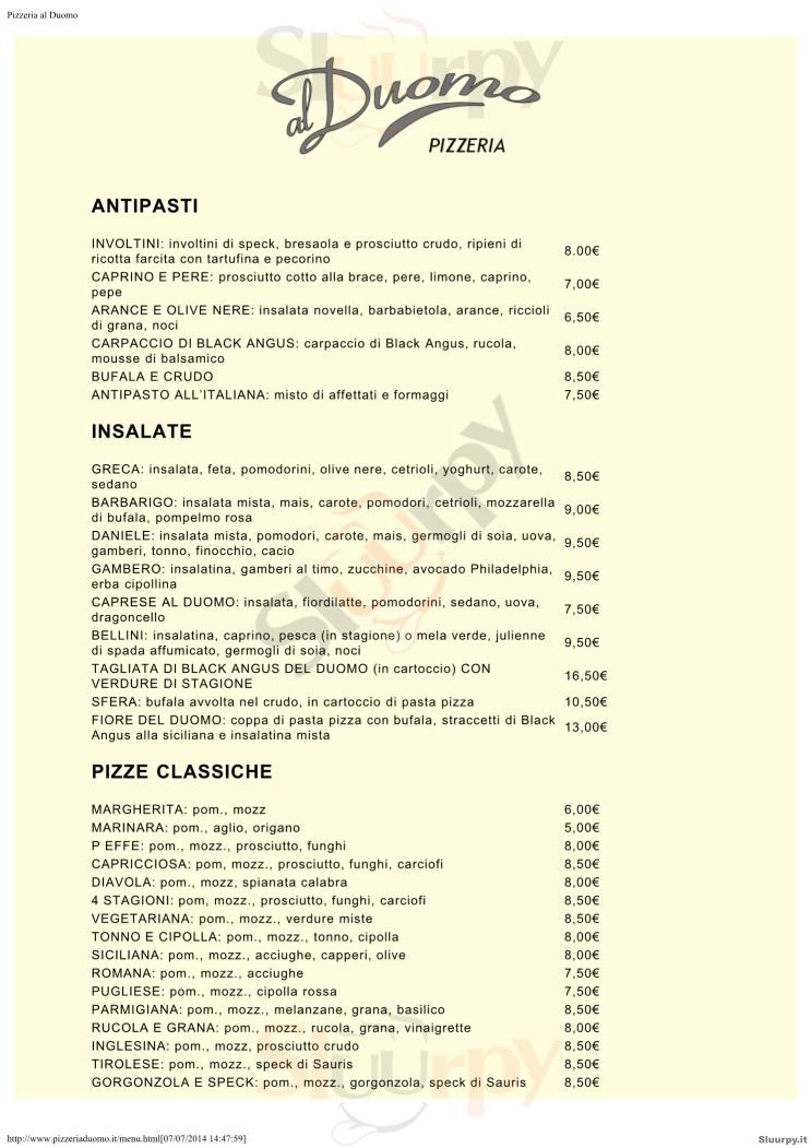 AL DUOMO Padova menù 1 pagina