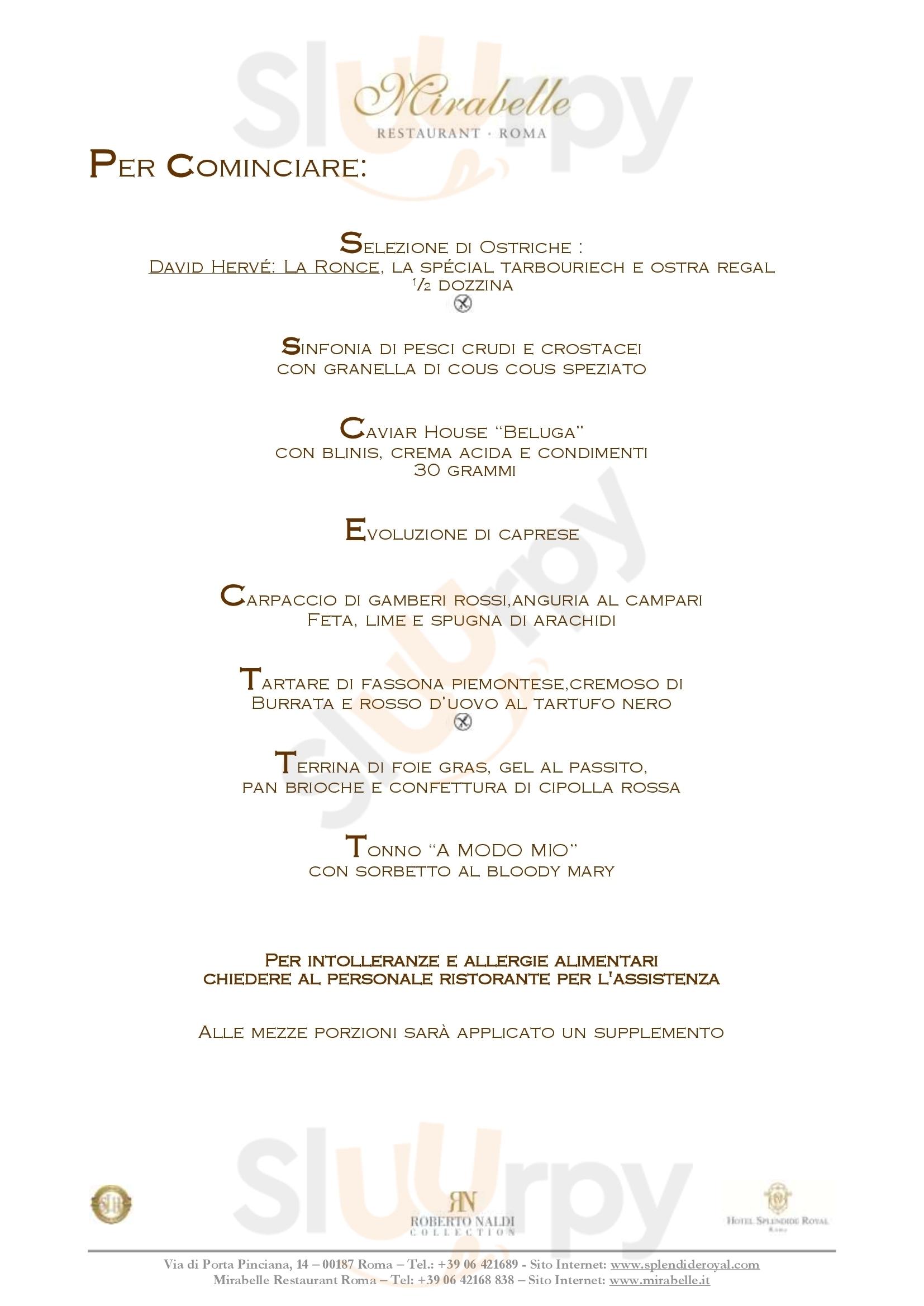 Mirabelle Roma menù 1 pagina