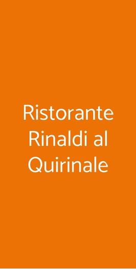 Ristorante Rinaldi Al Quirinale, Roma