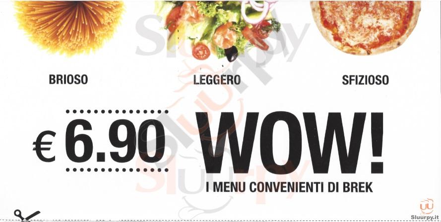 BREK, Piazza Cavour Padova menù 1 pagina