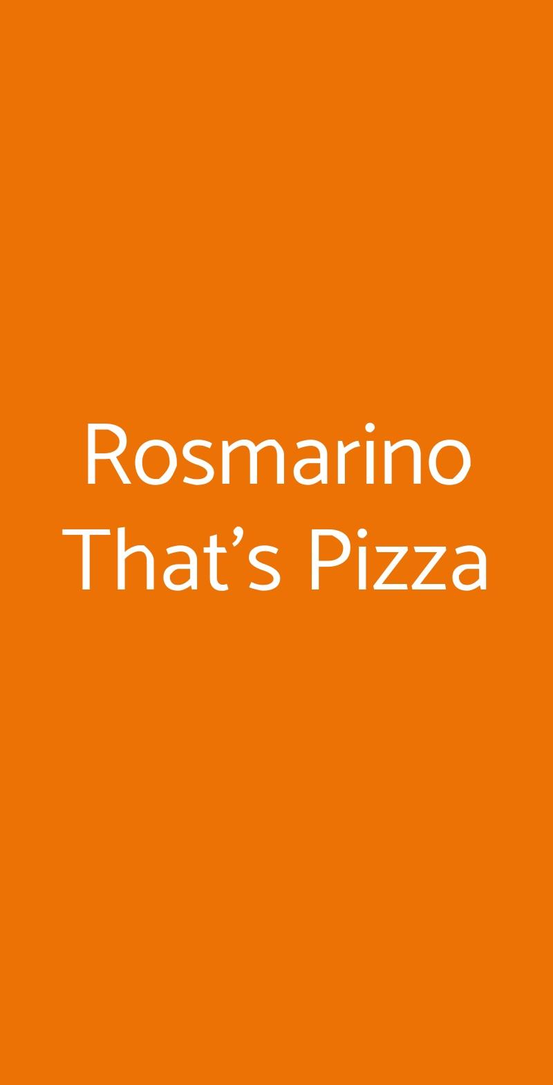 Rosmarino That's Pizza Roma menù 1 pagina