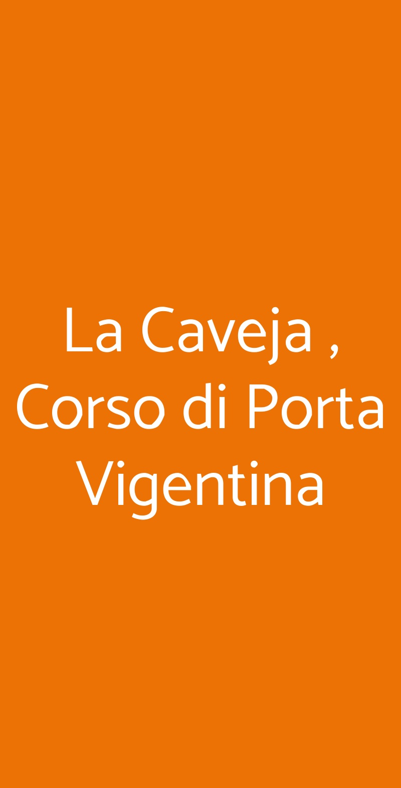 La Caveja , Corso di Porta Vigentina Milano menù 1 pagina