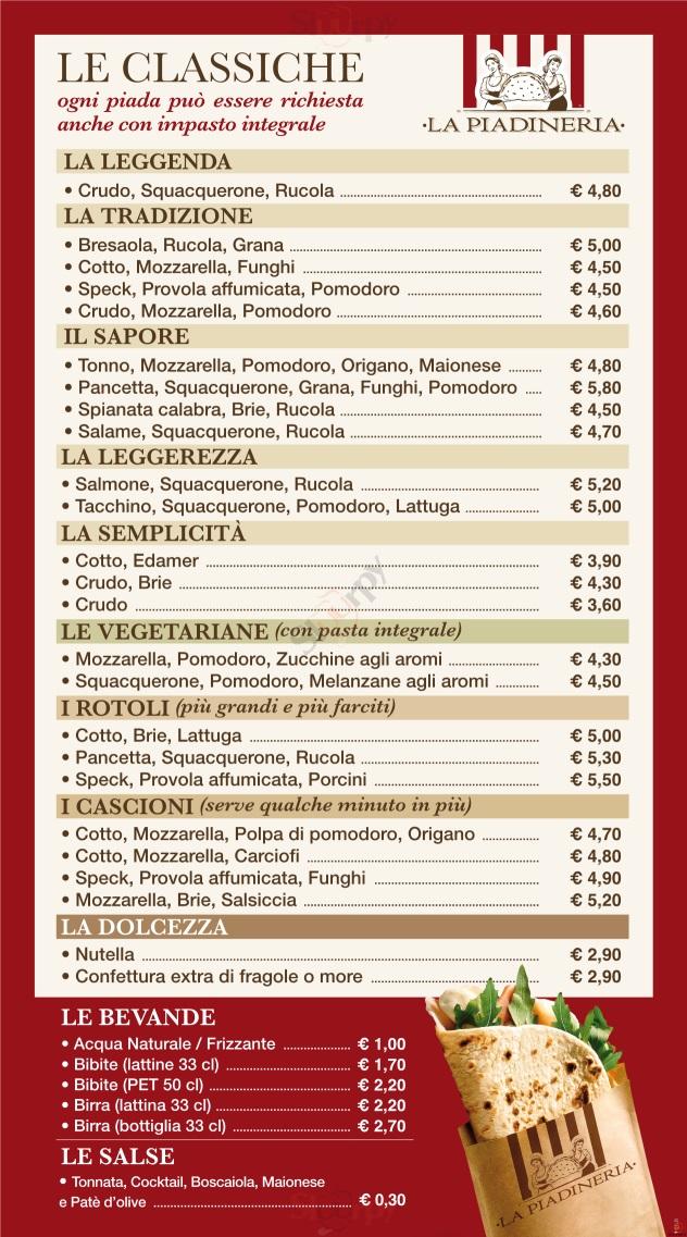 LA PIADINERIA  Lumezzane menù 1 pagina