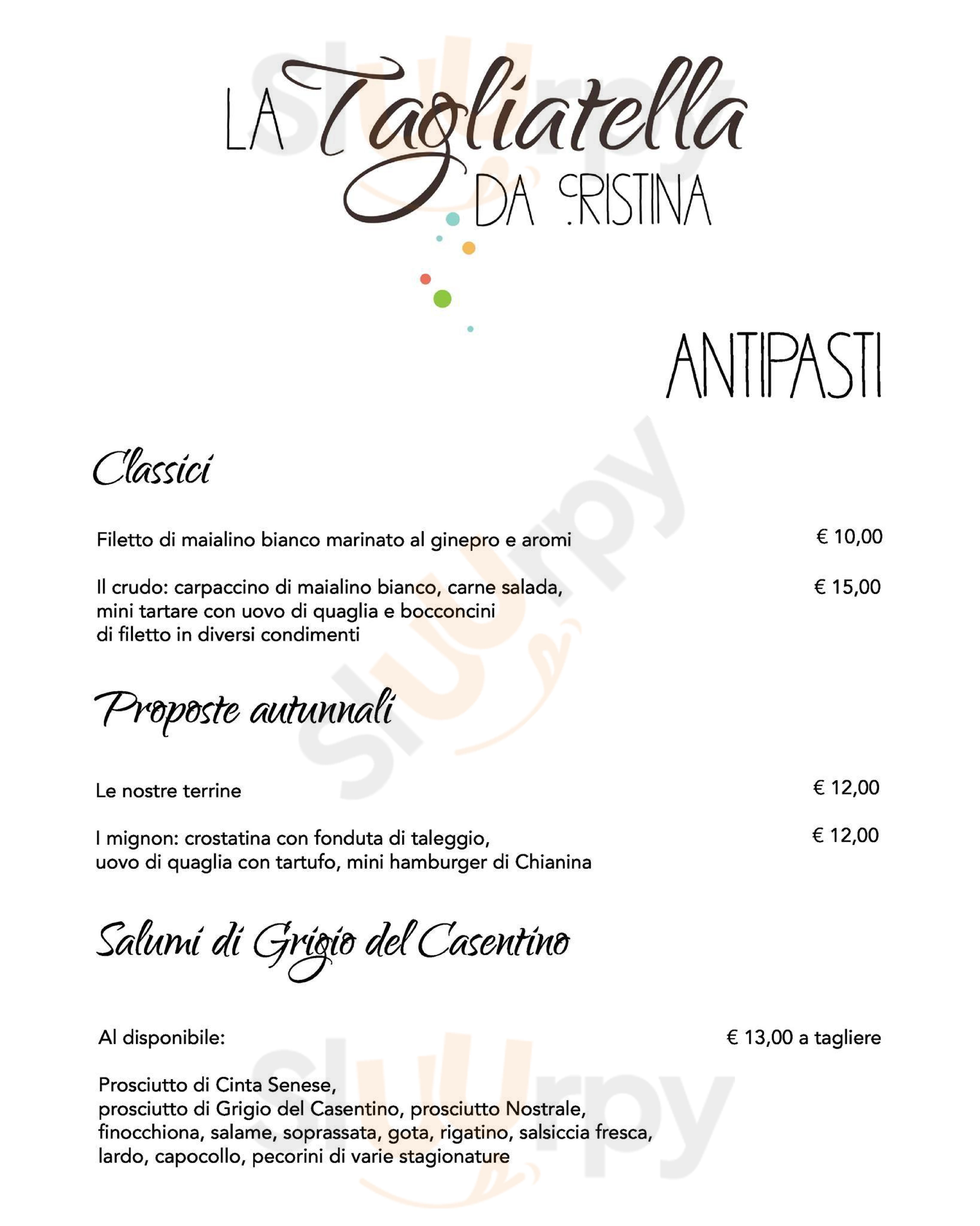 La Tagliatella Arezzo menù 1 pagina