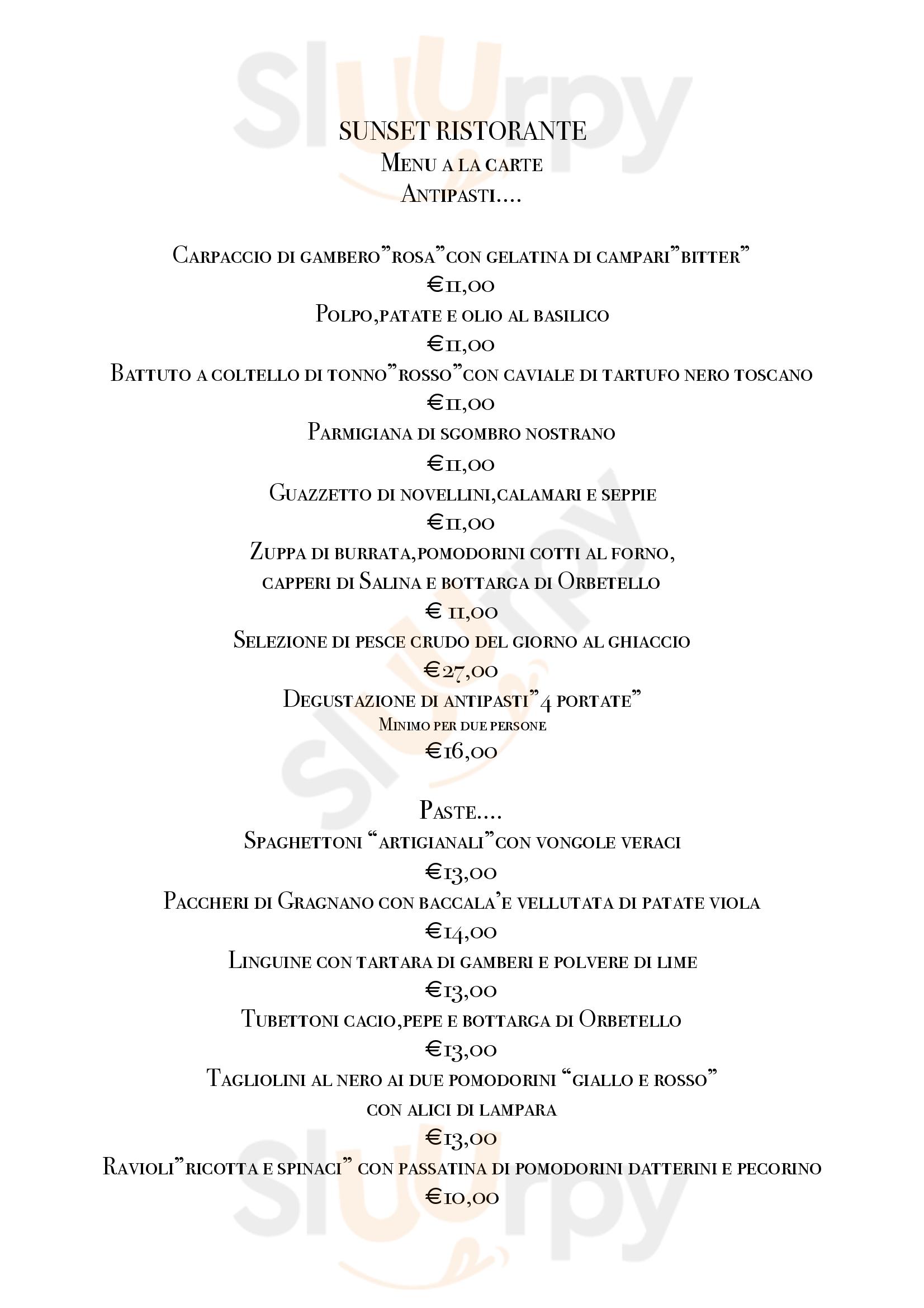 Sunset Restaurant Orbetello menù 1 pagina