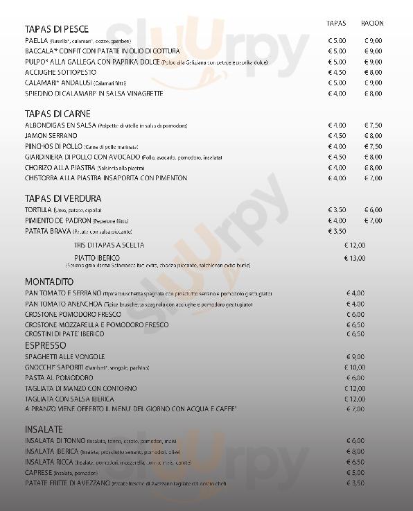 Pizza & Tapas Grosseto menù 1 pagina