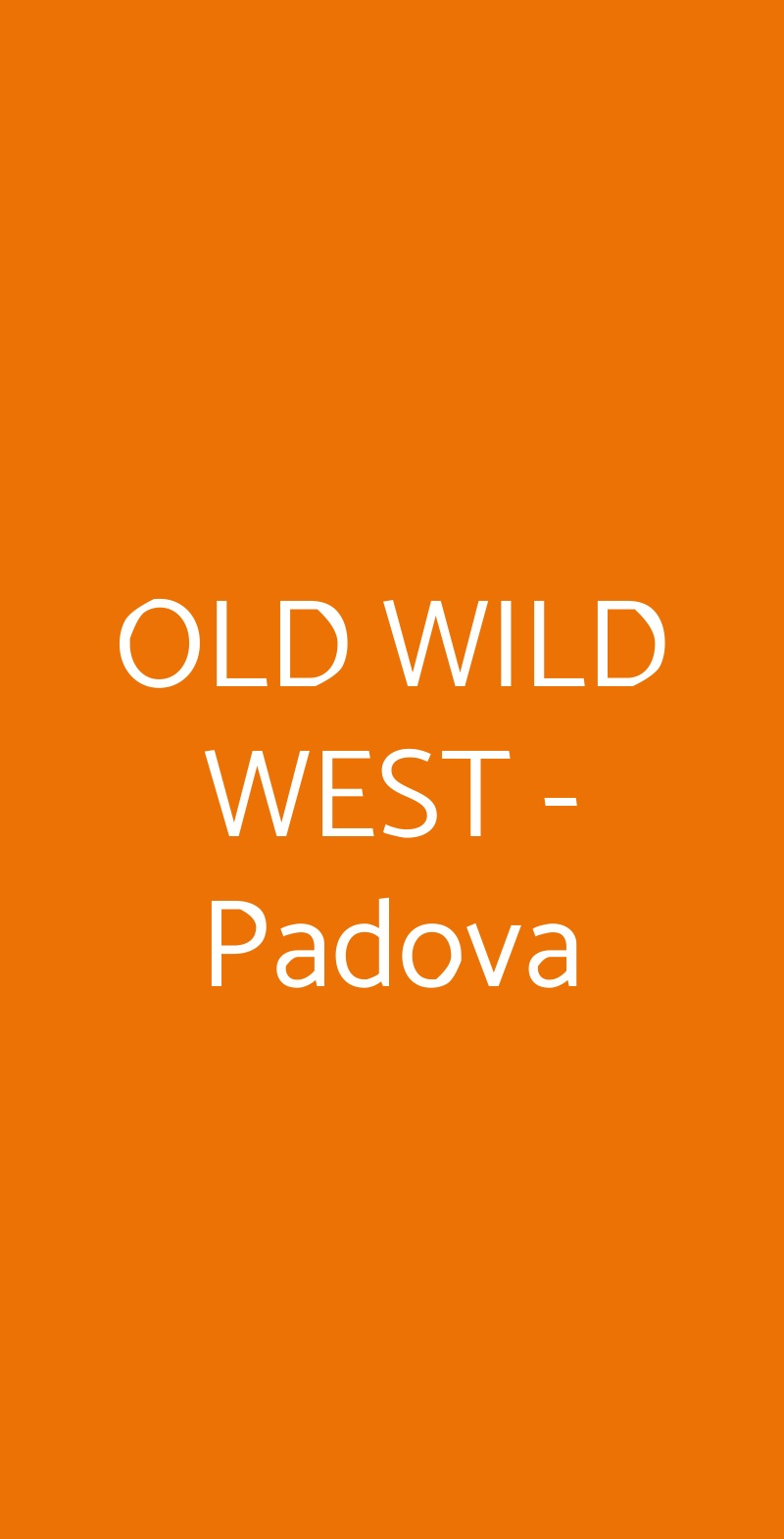 OLD WILD WEST - Padova Padova menù 1 pagina