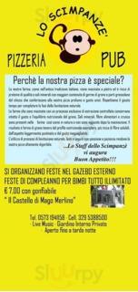 Menu Pizzeria Lo Scimpanze'