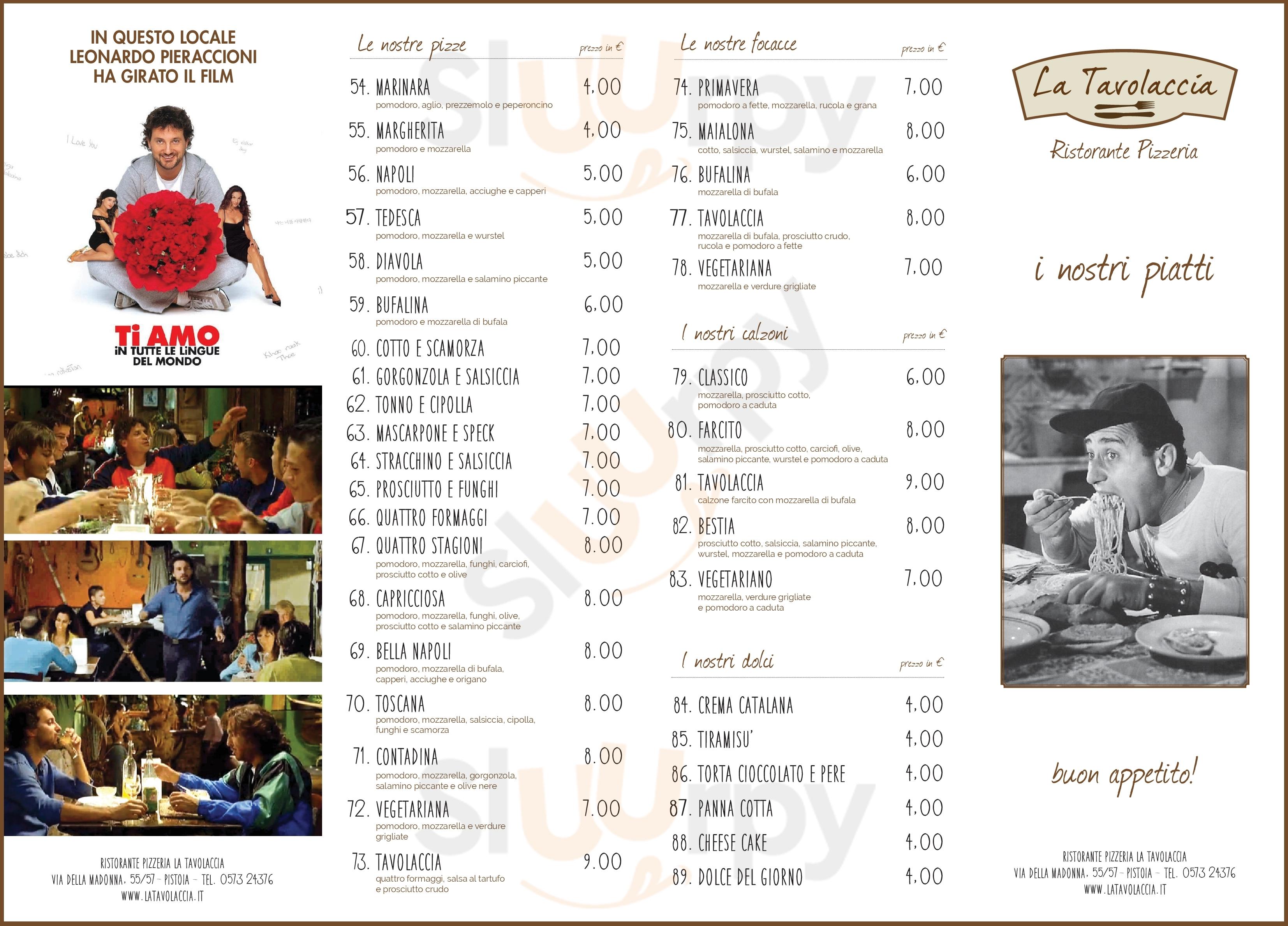 Ristorante Pizzeria La Tavolaccia Pistoia menù 1 pagina