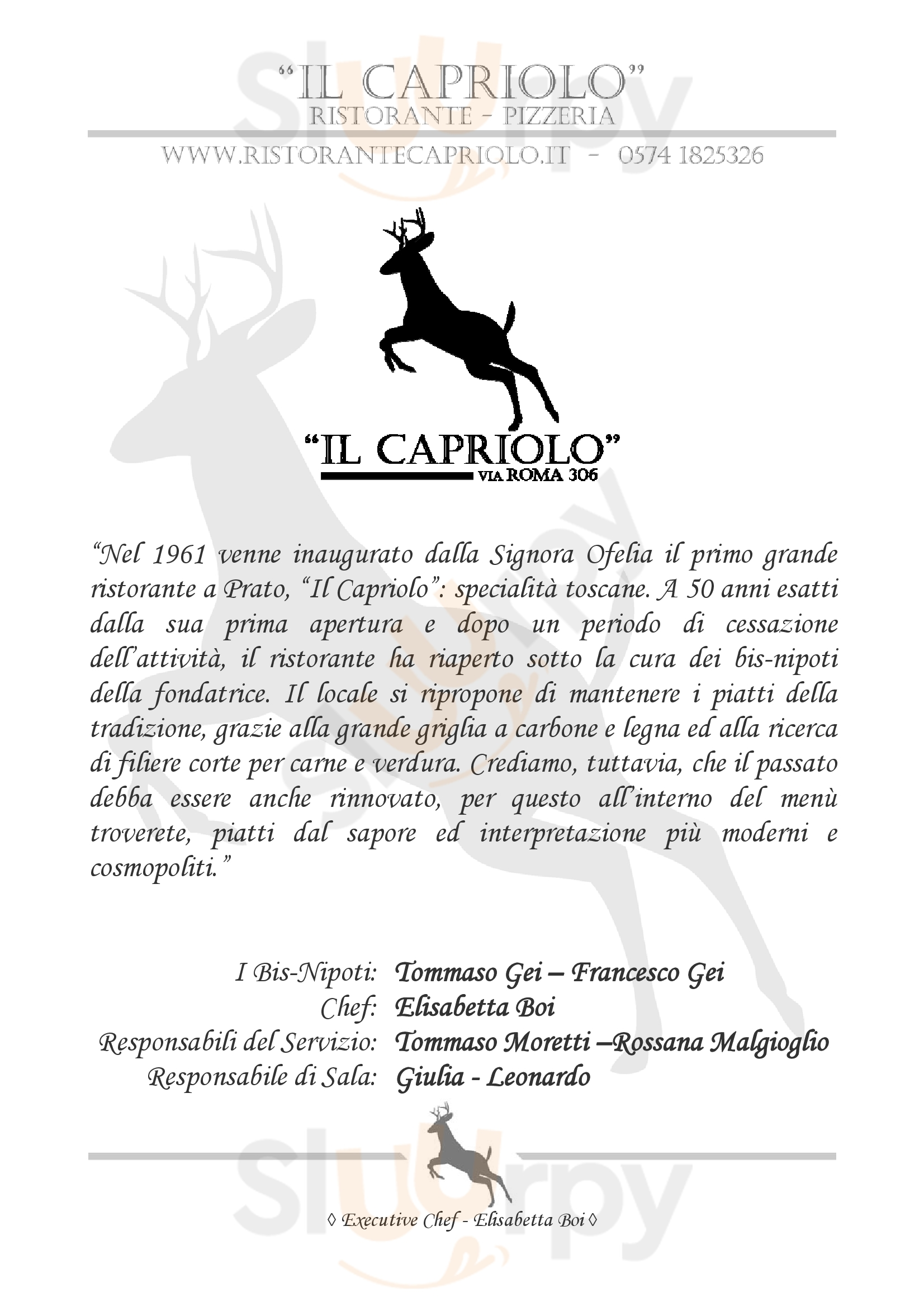 Il Capriolo Prato menù 1 pagina