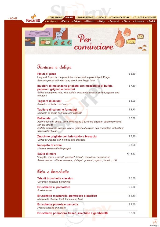 PASTARITO Cola Di Rienzo Roma menù 1 pagina