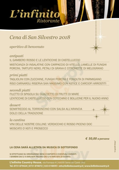 Menu L'Infinito Country House