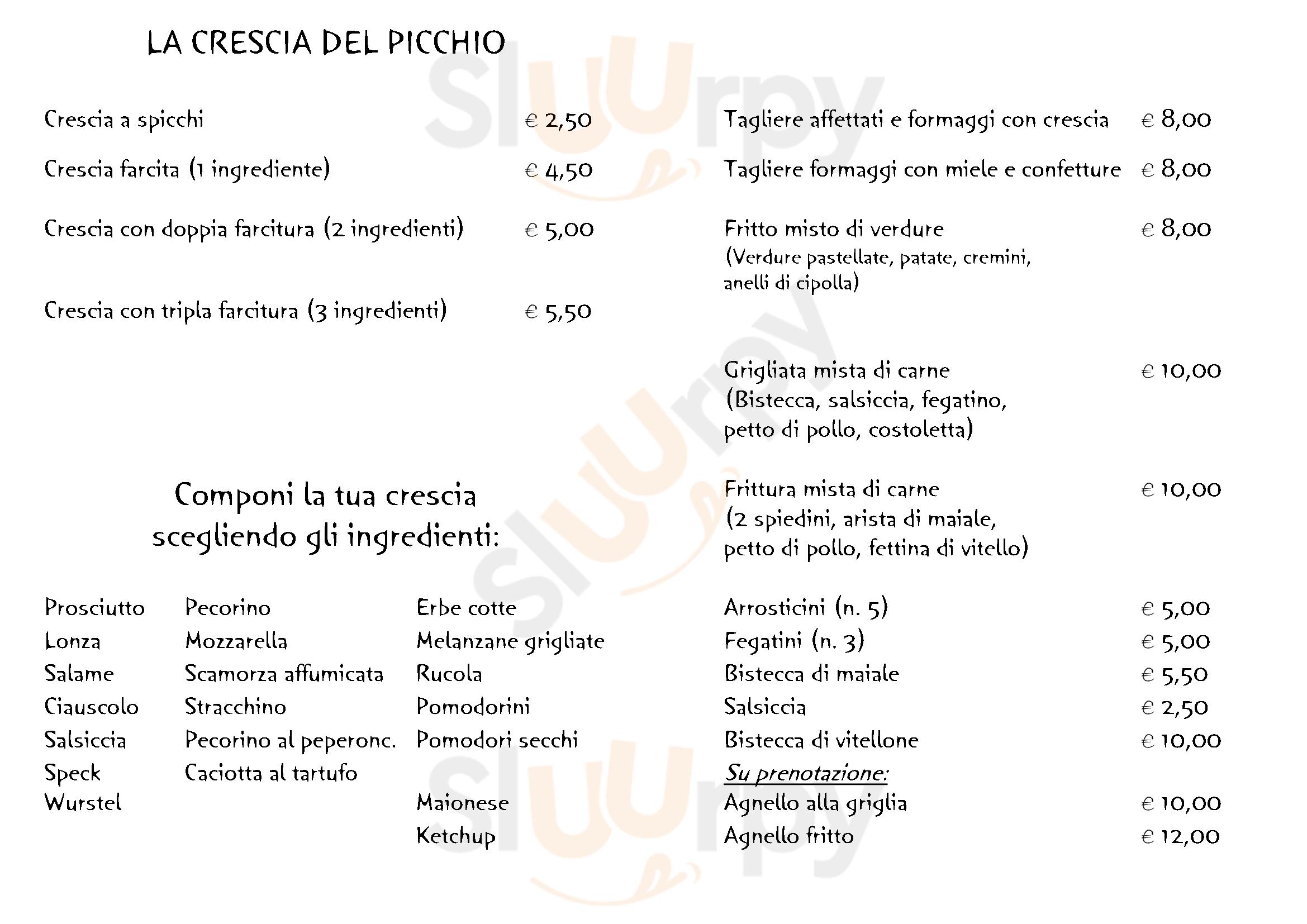 Il Picchio Arcevia menù 1 pagina