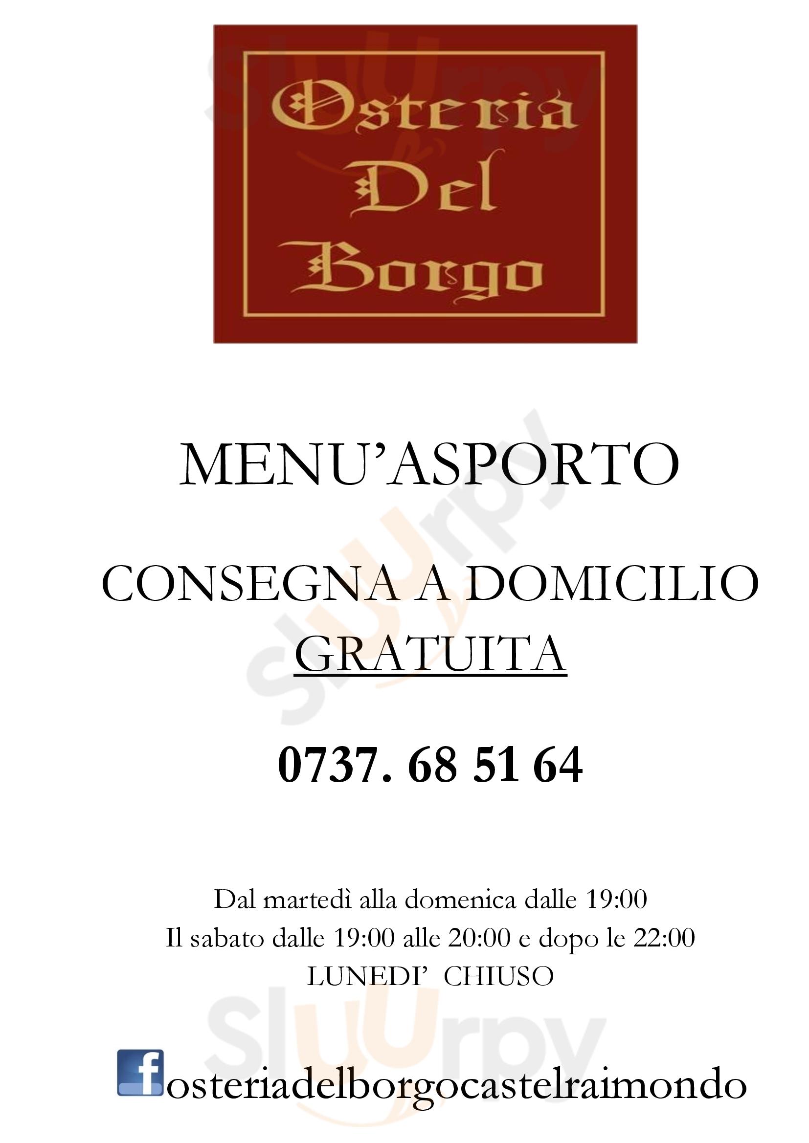 Osteria del Borgo Castelraimondo menù 1 pagina