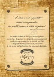 Menu StatAle78 Birreria - Beer & Food