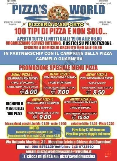 PIZZA'S WORLD Messina menù 1 pagina