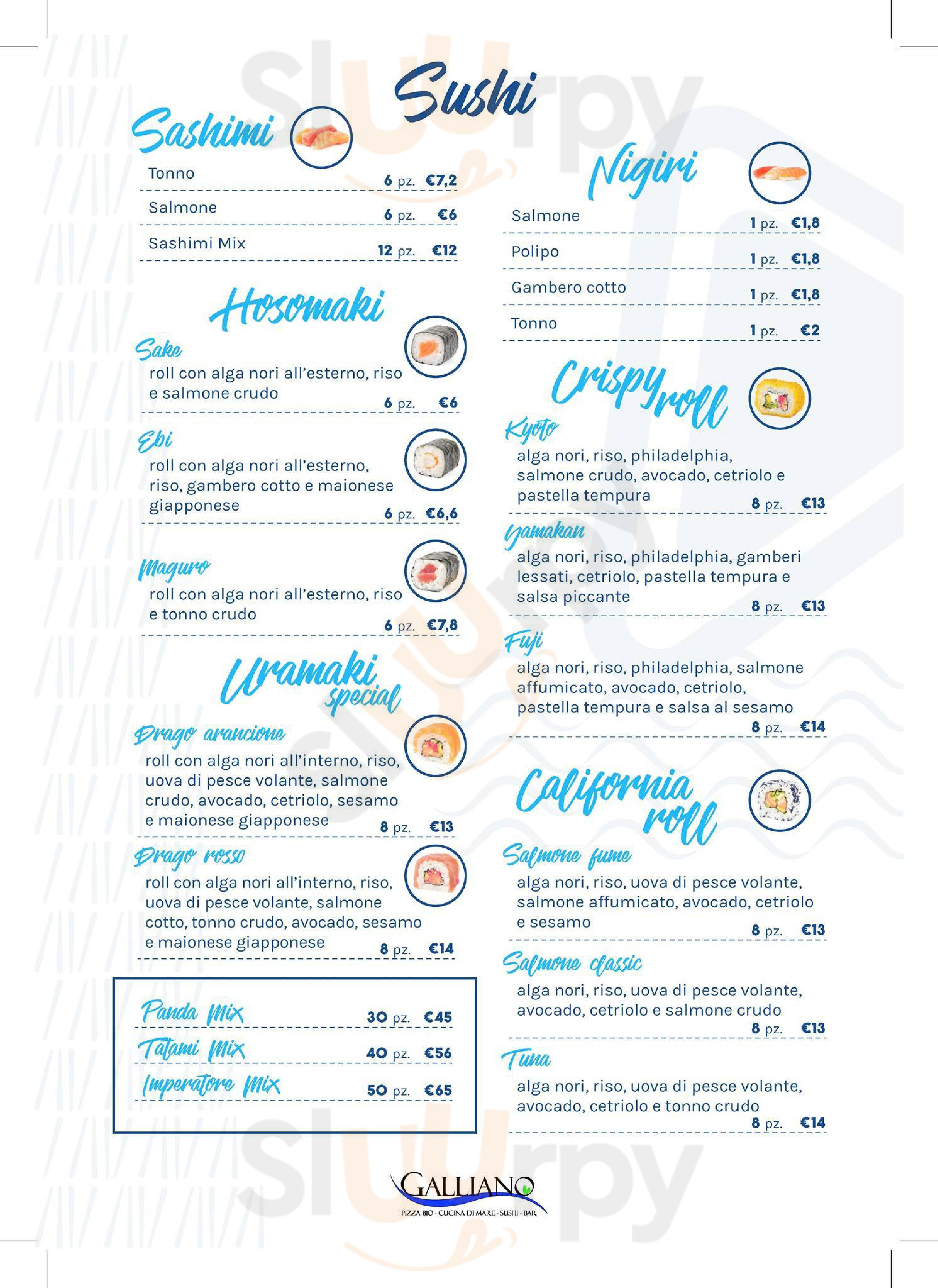 Taverna Pizzeria Galliano Civitanova Marche menù 1 pagina