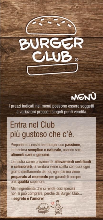 BURGER CLUB - Taormina Taormina menù 1 pagina