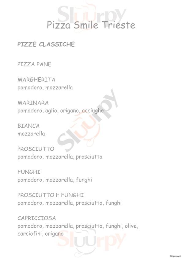 PIZZA SMILE, Via Mateotti Trieste menù 1 pagina