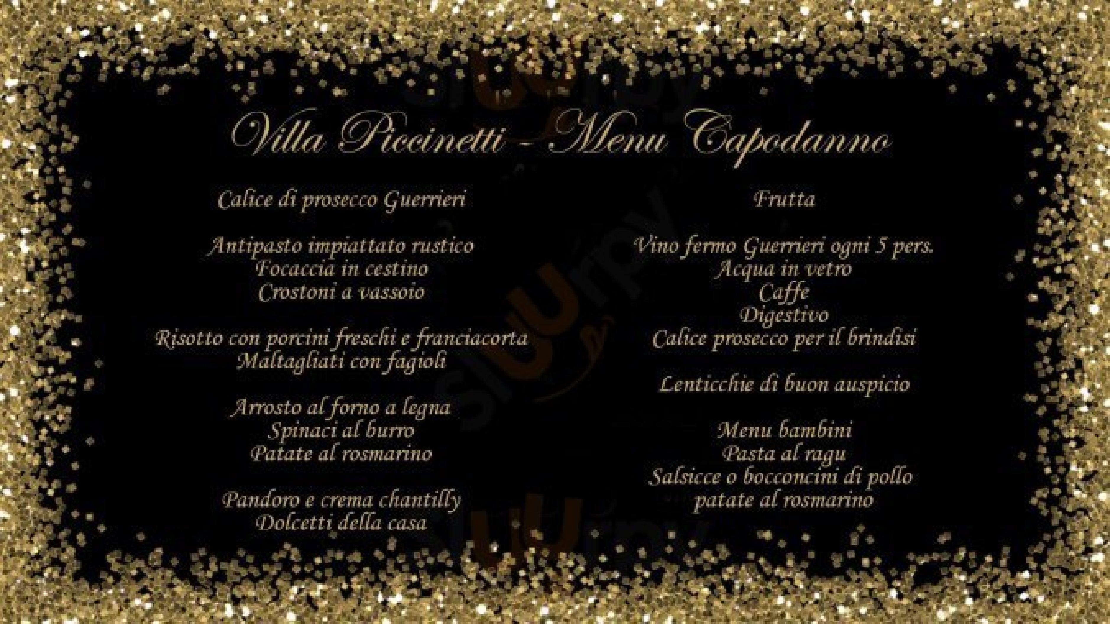 Villa Piccinetti Fano menù 1 pagina
