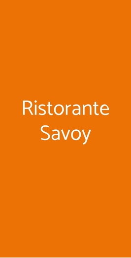 Ristorante Savoy, Trieste