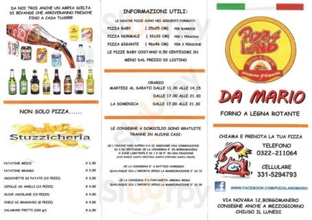 Menu Pizzaland da mario