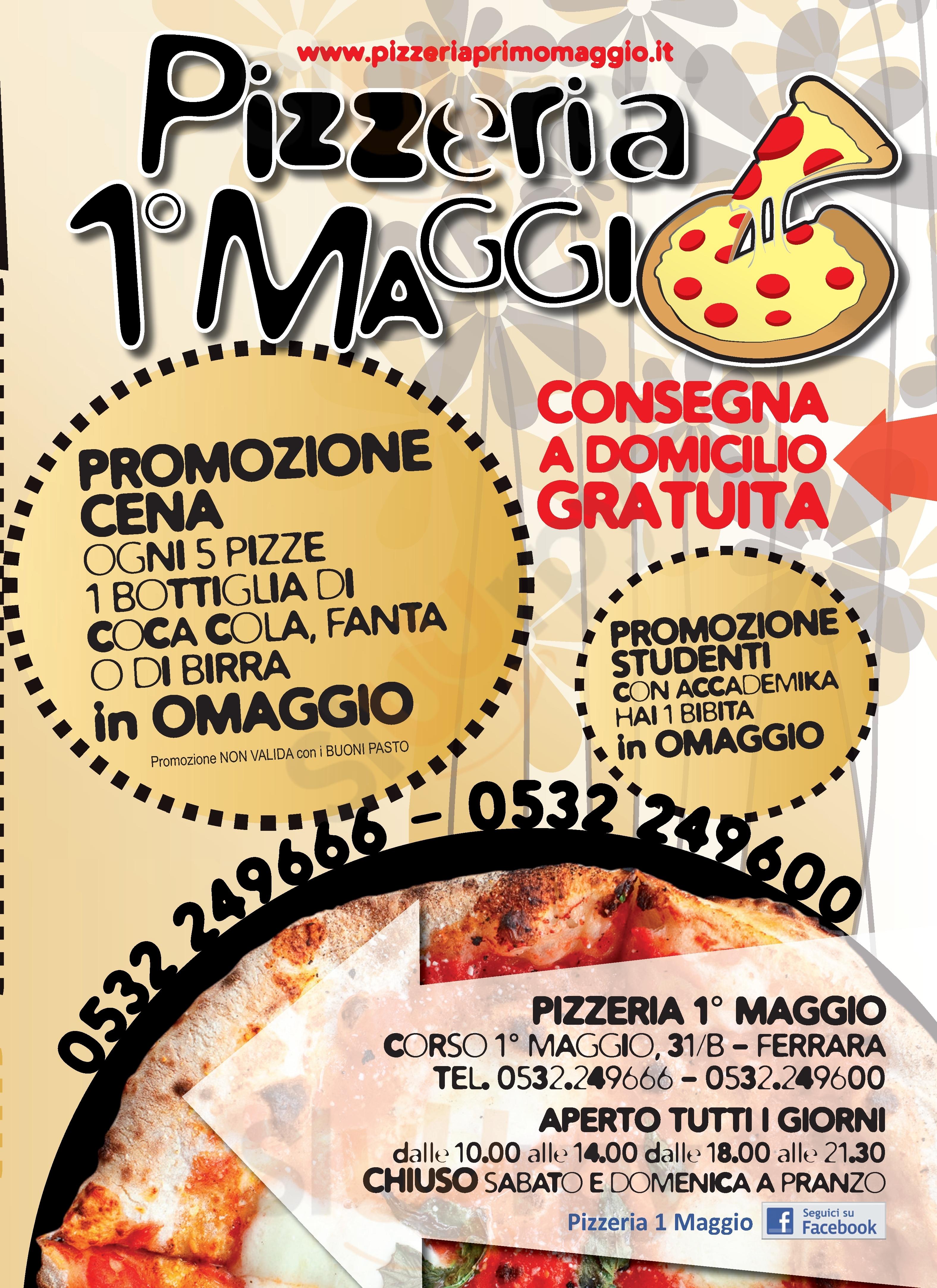 1° Maggio Ferrara menù 1 pagina