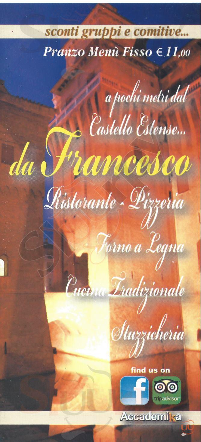 DA FRANCESCO Ferrara menù 1 pagina