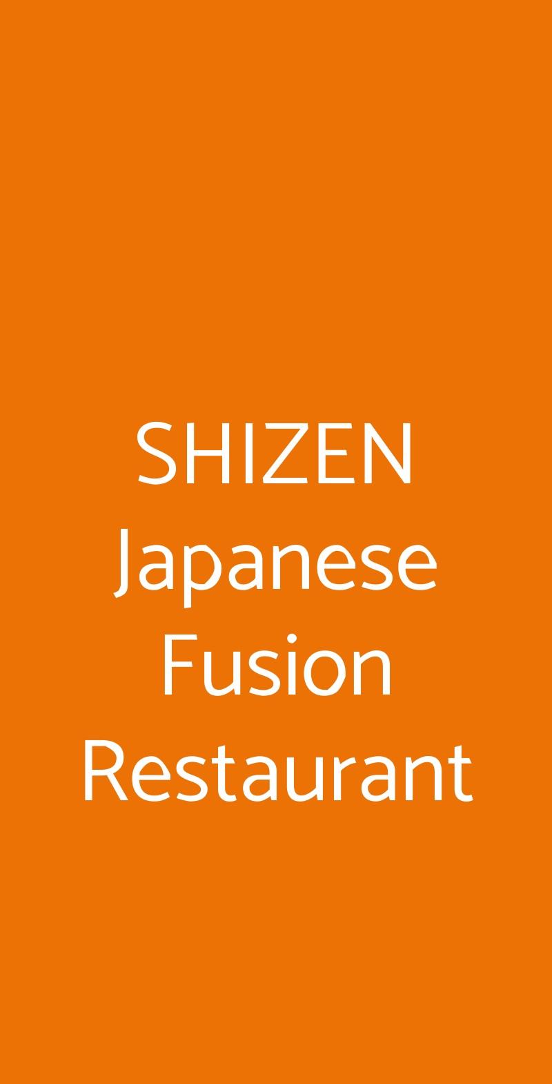SHIZEN Japanese Fusion Restaurant Milano menù 1 pagina