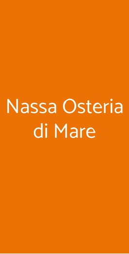 Nassa Osteria Di Mare, Milano