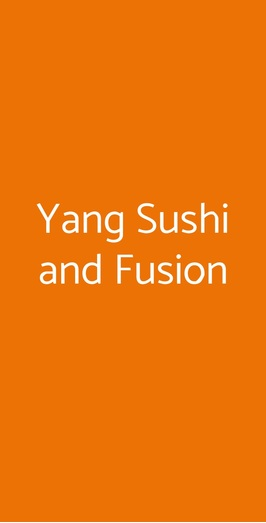 Yang Sushi And Fusion, Milano