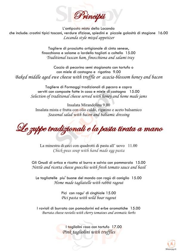 LOCANDA DEL MOLINO Cortona menù 1 pagina
