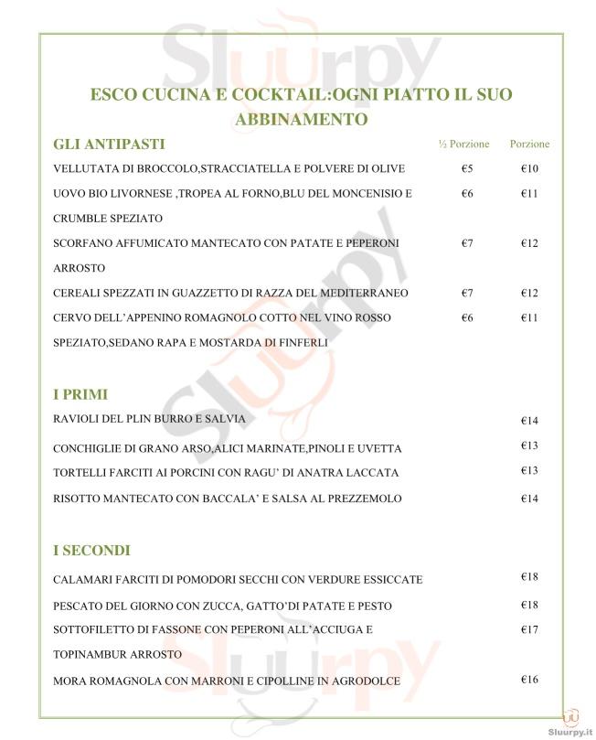 Esco Bistrò Mediterraneo Milano menù 1 pagina