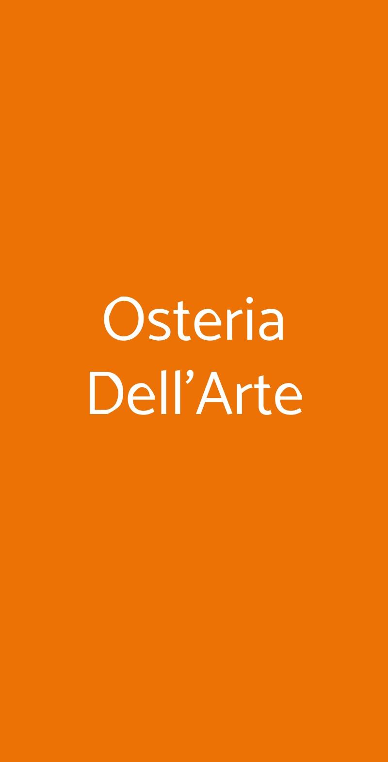 Osteria Dell'Arte Milano menù 1 pagina