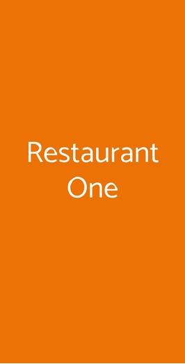 Restaurant One, Milano