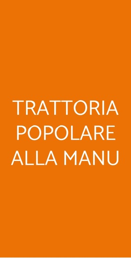 Trattoria Popolare Alla Manu, Milano