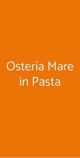 Osteria Mare In Pasta, Milano