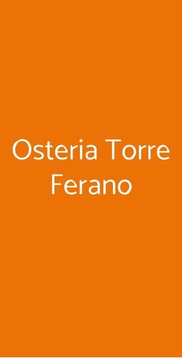 Osteria Torre Ferano, Vico Equense
