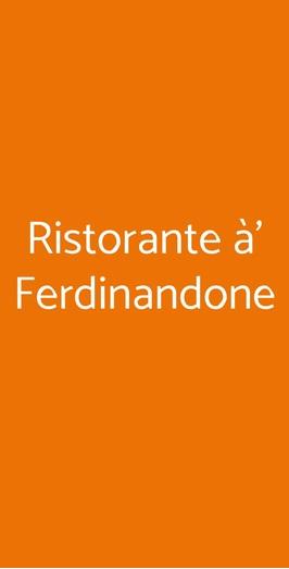 Ristorante à' Ferdinandone, Gragnano