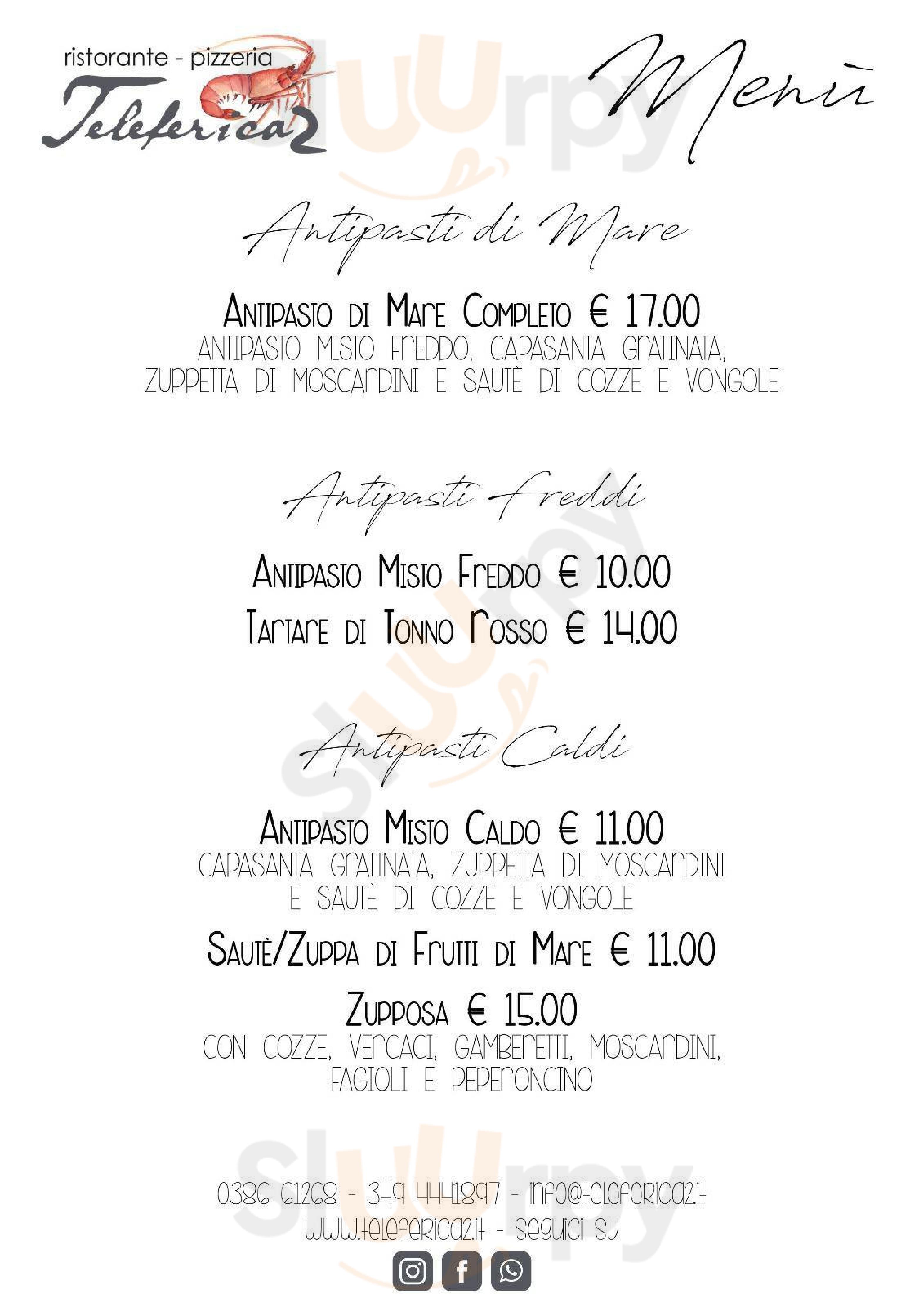 Ristorante Pizzeria Teleferica2 Sermide menù 1 pagina