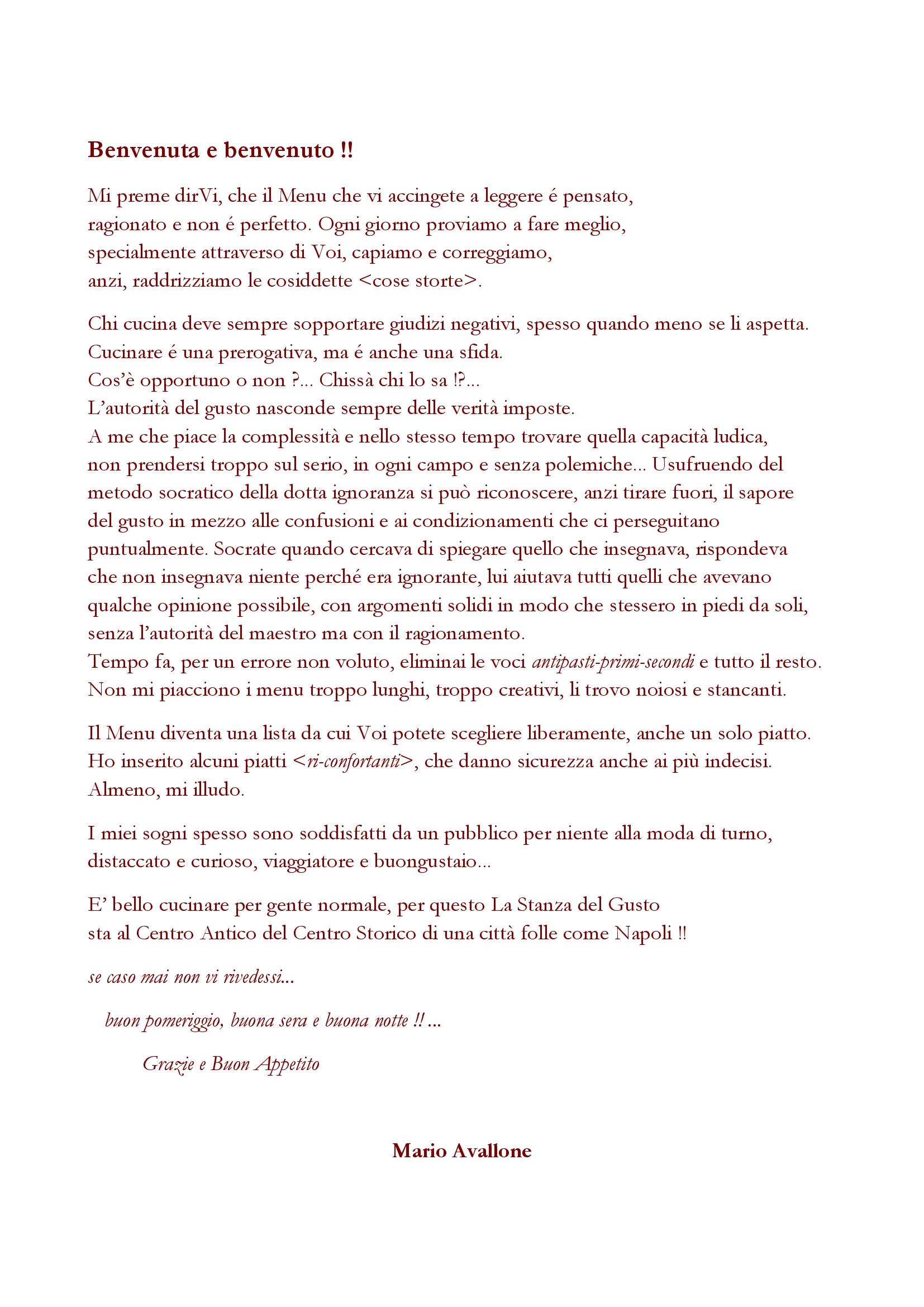La Stanza del Gusto Napoli menù 1 pagina