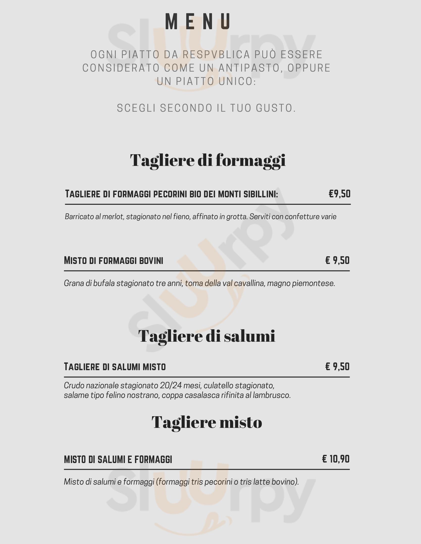 Respvblica Ristorante Pavia menù 1 pagina