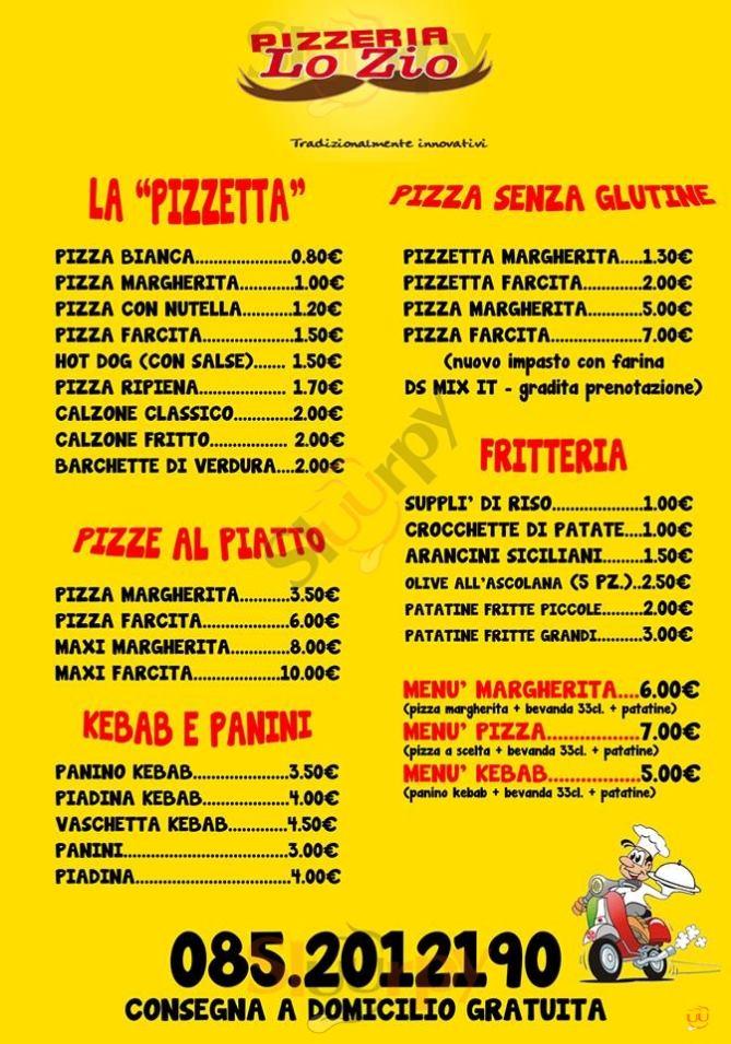 LO ZIO, Via dei Bastioni Pescara menù 1 pagina