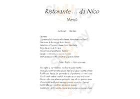 Menu Ristorante da Nico